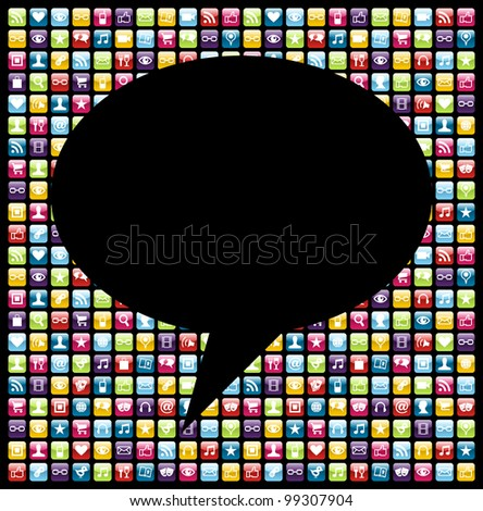 Social bubble shape over mobile phones applications software icon set background. - stock photo