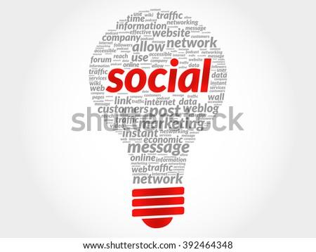 Social bulb word cloud, business concept - stock photo