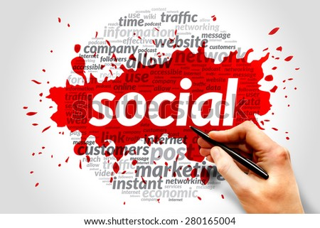 Social business concept in word tag cloud - stock photo