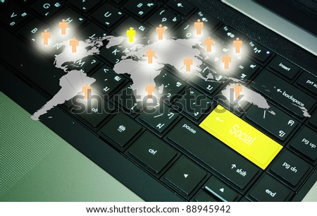 Social button on keyboard with network diagram - stock photo