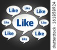 Social chat bubbles conversation on dark black background like facebook - stock photo