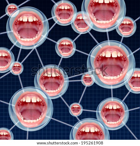 Social Connections communication concept as a group network on the internet with connected bubbles as human mouths inside as a symbol of talking and sharing information. - stock photo