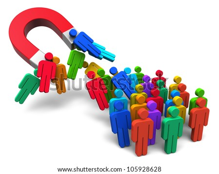 Social engineering concept: horseshoe magnet capturing crowd of color human figures isolated on white background - stock photo