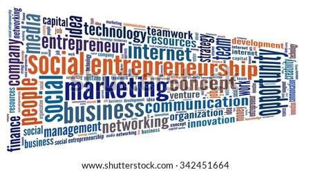 Social Entrepreneurship in word collage - stock photo