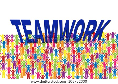 Social group hold teamwork word - stock photo