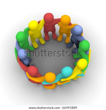Social group of friends. 3d rendered illustration isolated on white. - stock photo