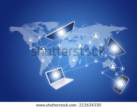 Social icons and devices on world map - stock photo