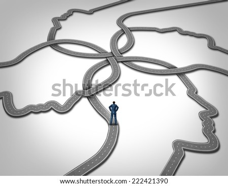 Social management and career manager business concept as a person standing on a group of connected roads that are shaped as a human face as a symbol of public relations and managing people. - stock photo