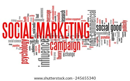Social marketing - internet technology concepts word cloud illustration. Word collage. - stock photo