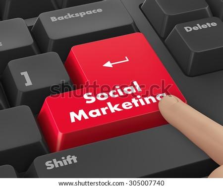 social marketing on computer keyboard key button, raster - stock photo