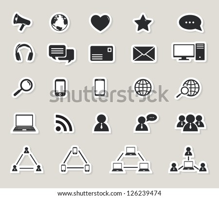 social media and computer communication icons set.paper stickers. raster version, vector file also available in gallery - stock photo