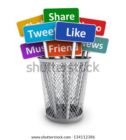 Social media and networking concept: group of color signs with social media services in metal office bucket isolated on white background