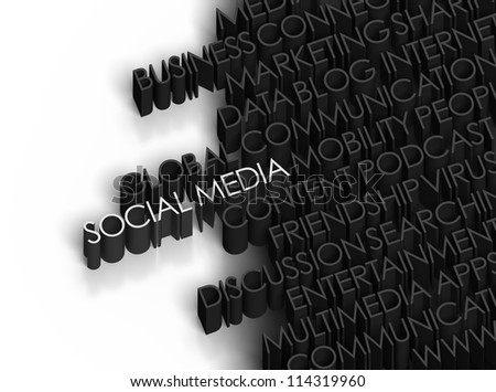 Social Media and related words on white background.