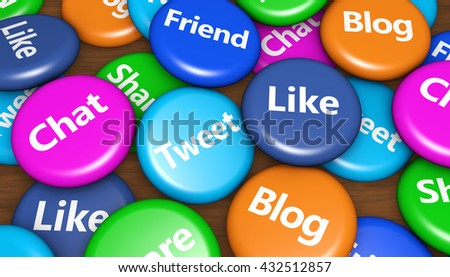 Social media and social network background, web and Internet concept with social media signs on colorful pin badges 3D illustration.