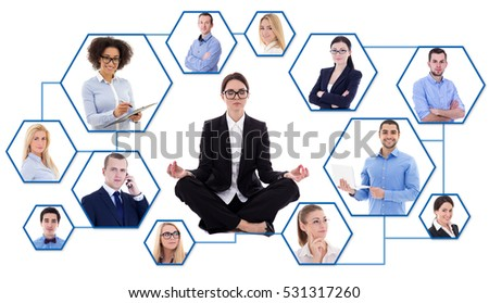social media and stress concept - young tired business woman and social network isolated on white background