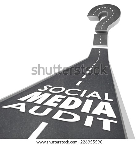 Social Media Audit words on a road to illustrate measuring or monitoring online or digital marketing campaign effectiveness - stock photo