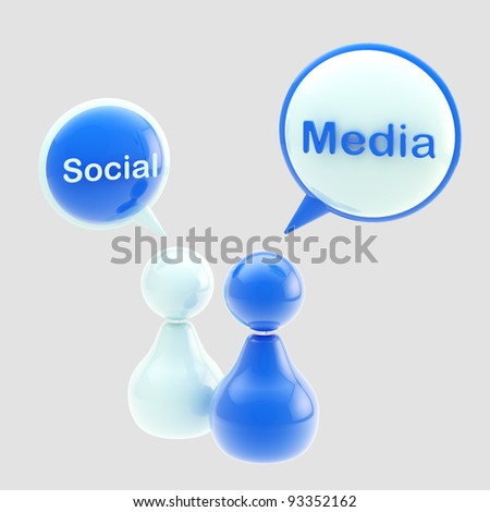 Social media blue glossy emblem made of text bubbles and symbolic human figures isolated on grey