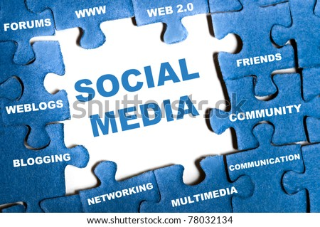 Social media blue puzzle pieces assembled - stock photo