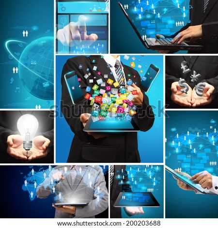Social media business innovation technology idea concept design, Creative communication virtual networking information digital data process diagram modern design layout template - stock photo