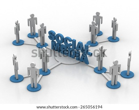 social media business network - stock photo