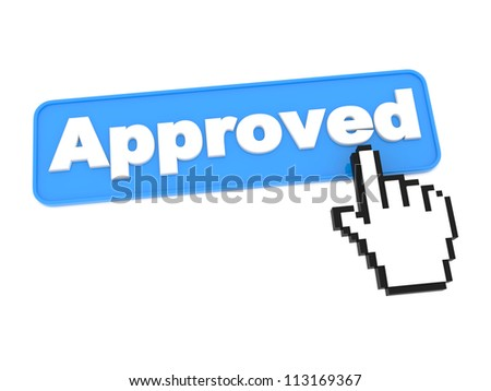 Social Media Button - Approved. Isolated on White Background.