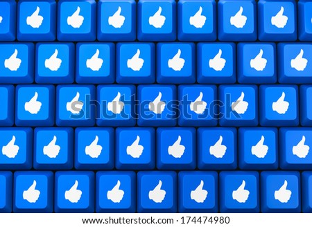 social media Button key like thumb up - stock photo
