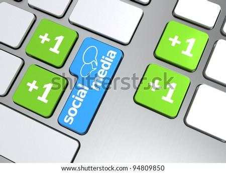 Social media button on keyboard, 3d render - stock photo