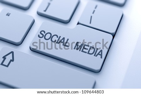 Social media button on keyboard with soft focus