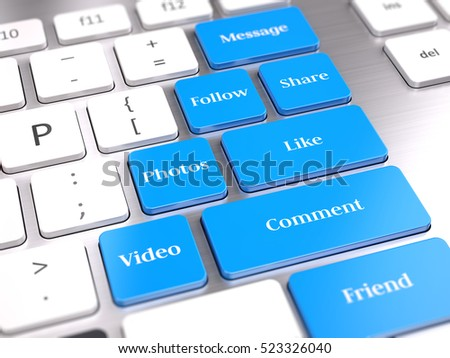 Social media buttons on computer keyboard. 3d render