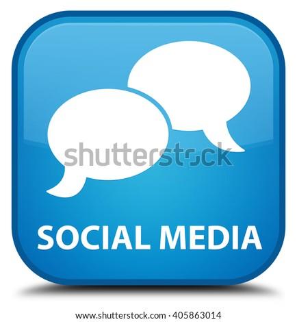 Social media (chat bubble icon) cyan blue square button - stock photo