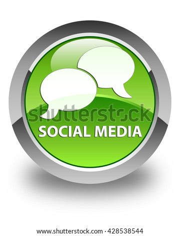 Social media (chat bubble icon) glossy green round button - stock photo