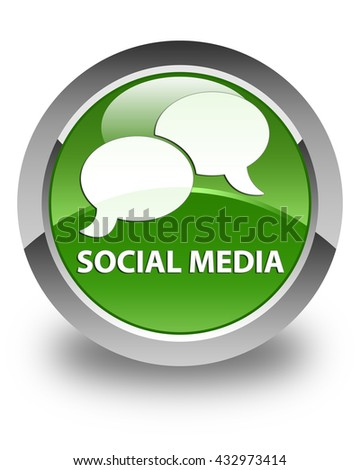 Social media (chat bubble icon) glossy soft green round button - stock photo