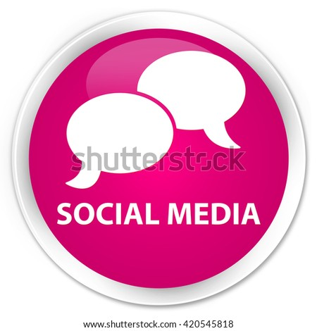 Social media (chat bubble icon) pink glossy round button - stock photo