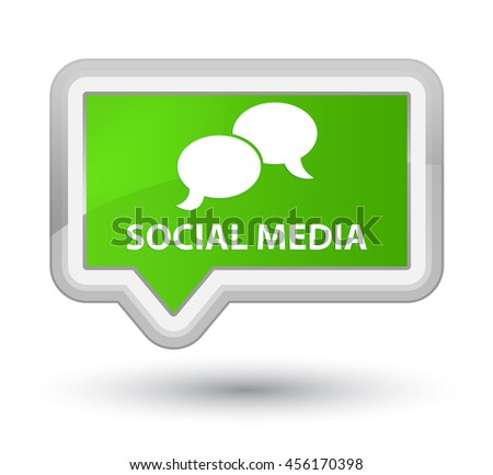 Social media (chat bubble icon) soft green banner button - stock photo