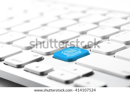 Social media & chat icon on computer keyboard - stock photo