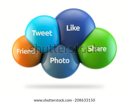 social media cloud - like, tweet, share, photo, friend isolated white backgorund with clipping path