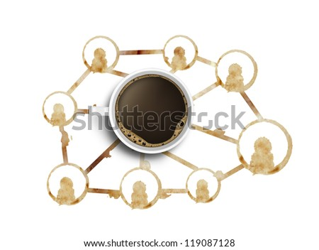 social media coffee prints rings and cup - stock photo