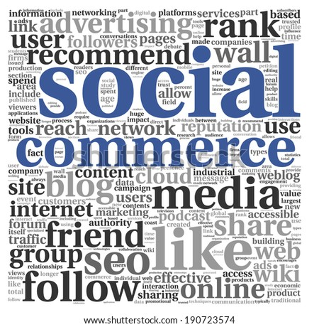 Social media commerce concept in word tag cloud on white background - stock photo