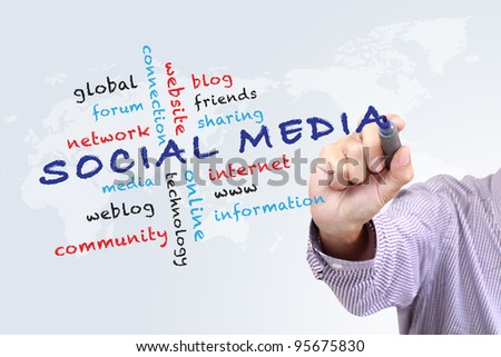 Social media concept  and other related words,hand drawn on white board - stock photo
