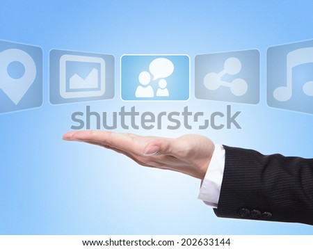 Social media concept , business man hand palm holding all kinds of icon about Social media - stock photo