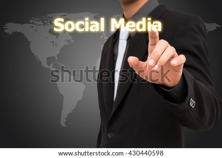 Social media concept  business man selecting virtual interface. - stock photo