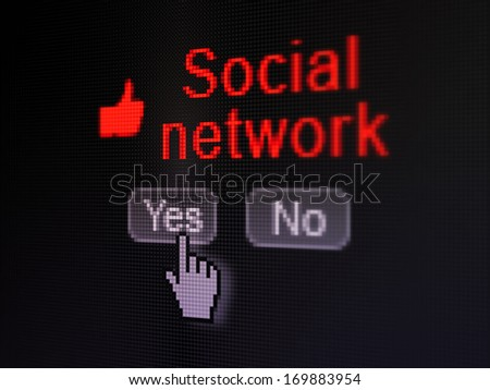 Social media concept: buttons yes and no with pixelated Thumb Up icon, word Social Network and Hand cursor on digital computer screen, selected focus 3d render