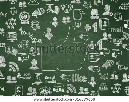 Social media concept: Chalk White Thumb Up icon on School Board background with  Hand Drawn Social Network Icons - stock photo