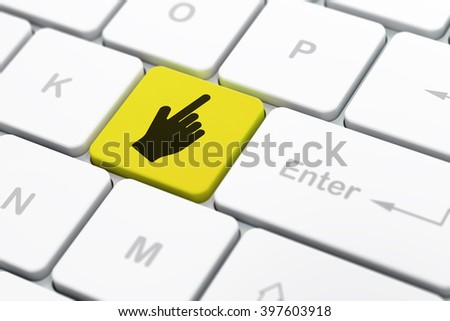 Social media concept: computer keyboard with Mouse Cursor icon on enter button background, selected focus, 3d render - stock photo