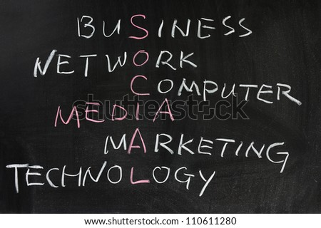 Social media concept crosswords written on the blackboard - stock photo