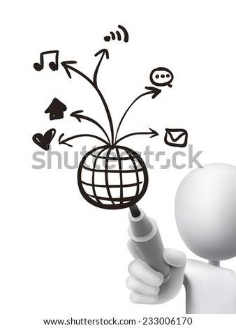 social media concept drawn by 3d man over transparent board - stock photo