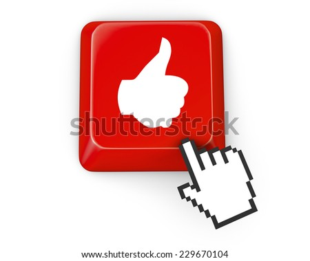 Social media concept: Enter button with Like on computer keyboard background, 3d render - stock photo