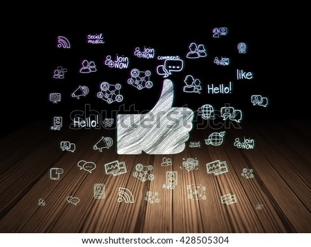Social media concept: Glowing Thumb Up icon in grunge dark room with Wooden Floor, black background with  Hand Drawn Social Network Icons - stock photo