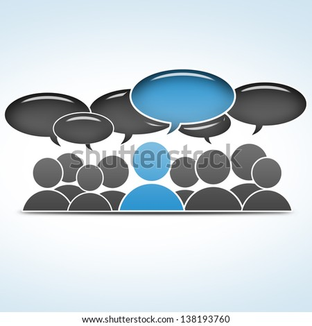 social media concept - group communication - stock photo