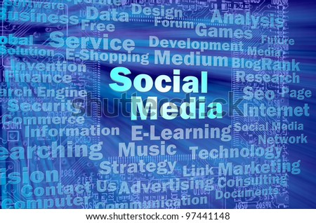 Social media concept in blue virtual space with internet related words - stock photo